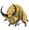 Ox in decorative style isolated on white vector image vector image