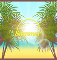 palm leaves frame retro vector image vector image