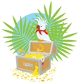 Pirate Parrot and treasure chest vector image
