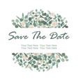 save date card with white rose flowers and vector image