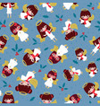 seamless pattern pretty christmas angels with vector image vector image