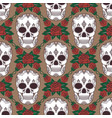 seamless pattern with skulls and roses vector image vector image