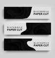 set horizontal banner paper cut paper art vector image vector image