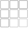 set Nine square ornamental frames Black on a white vector image vector image
