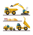 Set of building machines excavator truck loader vector image