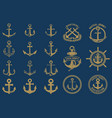 set of nautical emblems and design elements in vector image vector image