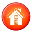 Small snowy cottage icon flat style vector image vector image
