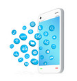 smartphone with connection apps icon floating vector image vector image