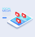 Social chat concept with isometric phone and likes