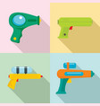 squirt gun water pistol game icons set flat style vector image vector image