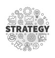 strategy round concept in thin vector image