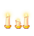 white candles burn and melt isolated on white vector image vector image