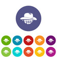 wild west cowboy hat icons set color vector image vector image