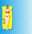 Woman relaxing on inflatable mattress in the sea vector image vector image