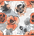 abstract meadow poppy flowers seamless pattern vector image