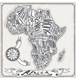 Africa Map on Vintage Handwriting Page vector image vector image