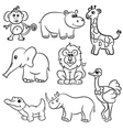 animals set 8 outlined vector image vector image