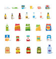 big collection of food and drinks flat icon vector image