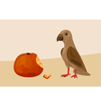 bird with apple vector image vector image