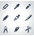 black stationery and painting icon set vector image vector image