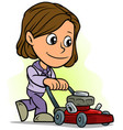 cartoon girl character with red lawn mower vector image vector image