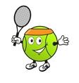 Cartoon tennis ball with racket vector image vector image