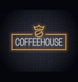 coffee bean neon logo neon coffee sign vector image vector image