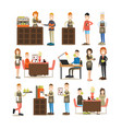 coffee house people flat icon set vector image vector image