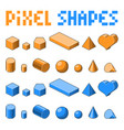 collection of pixel art 3d isometric shapes vector image