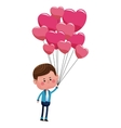 cute boy with hearts balloons love vector image