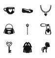 doll princess icon set simple style vector image vector image