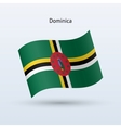 Dominica flag waving form vector image vector image