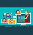 e-learning online education concept online vector image vector image