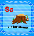 flashcard letter s is for stump vector image vector image