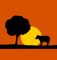 forest night moon - bear and tree silhouettes vector image vector image