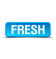 Fresh blue 3d realistic square isolated button
