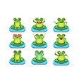 frogs sitting on leaf characters set vector image vector image