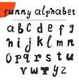 Funny hand drawn alphabet font vector image