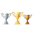 gold silver copper victory award cup prize vector image vector image