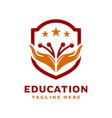 hand shield logo education vector image vector image