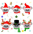 happy new year and merry christmas set six vector image vector image