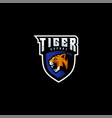 logo tiger e sport and sport style vector image