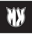 mk logo monogram with horn shape style design vector image vector image
