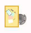 office workplace desk with stationery and chair vector image