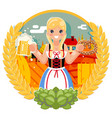 oktoberfest girl with beer mug pretzel poster vector image