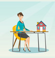 real estate agent signing home purchase contract vector image vector image