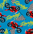 Red motorcycle racing with checkered flag seamless vector image vector image