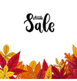 sale lettering phrase on background with autumn vector image
