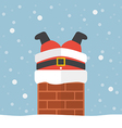 Santa claus stuck in the chimney vector image vector image