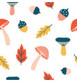seamless pattern with cute colorful mushrooms vector image vector image